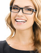 Cheerful smiling woman in glasses, isolated
