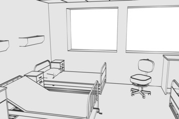 cartoon image of hospital room