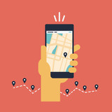 Mobile GPS navigation flat illustration
