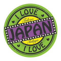 Grunge color stamp with text I Love Japan inside, vector