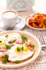 Breakfast with fried eggs vertical