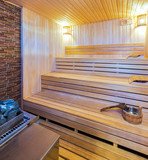 Interior of a wooden sauna