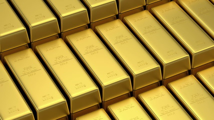 Stack of Golden Bars. Seamless Looping Animation. HQ Video Clip