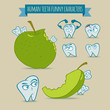 Set of human teeth funny characters with apple