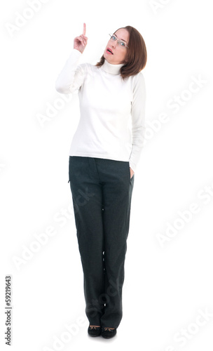 Woman in glasses pointing her finger isolated on white backgroun