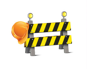 Road Barrier With Hard Hat