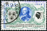 FRANCE - 1968: shows Louis XV, Arms of France and Corsica