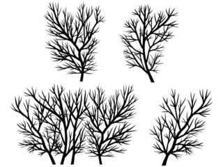 Blattlose Zweige/Sträucher im Winter – Vektor, freigestellt