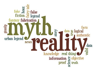 myth and reality word cloud