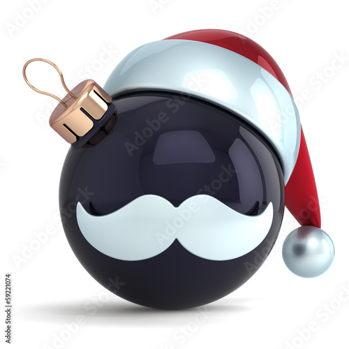 Christmas ball ornament Santa Claus hat New Year bauble black