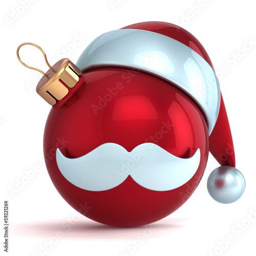 Christmas ball ornament Santa Claus hat New Year bauble red
