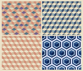 Seamless geometric cube background set. Patterns Vector