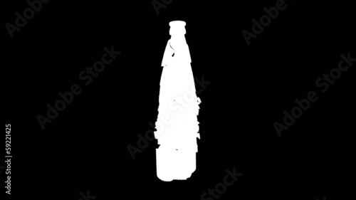 Shattered and broken glass bottle with slow motion. Alpha