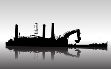 Vector silhouette of ship with floating excavator in service