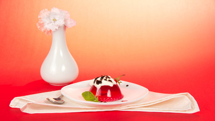 Plate with jelly and whipped cream