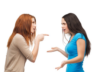 two teenagers having a fight