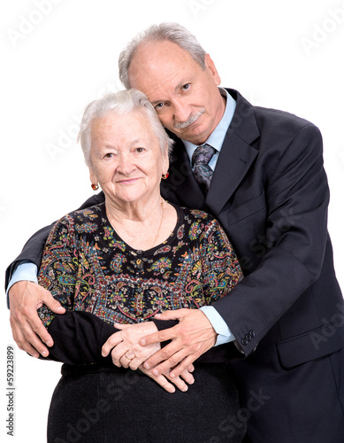 Elderly son with old mother