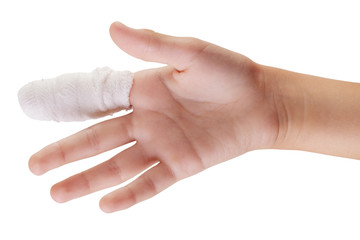 Hand with bandaged finger