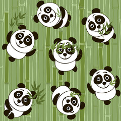 Seamless  pattern with cartoon pandas on the background of bambo