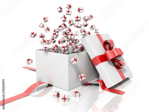 Render of a white gift box throwing little gift boxes