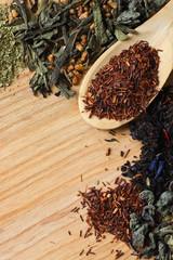 Bush tea rooibos in wooden spoon