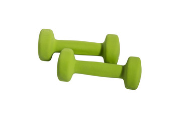 Two green dumbbells