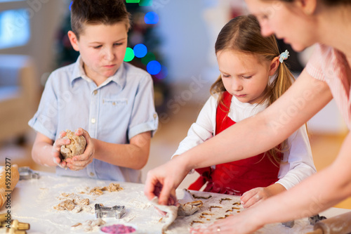 Family baking Christmas cookies