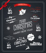 Christmas set labels, emblems and decorative elements - Chalkboa