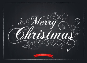 Merry Christmas letters stylized for the drawing with chalk on t