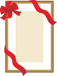 Golden festive frame with red ribbon