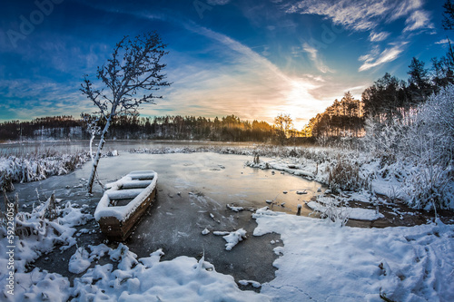Foto op Canvas Meer / Vijver First snow at sunrise in winter