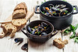 Closeup of ingredients for a dish cooked with mussels