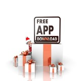 santa claus with gift and free app download symbol