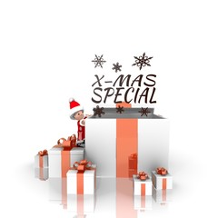 santa claus with gift and christmas special label