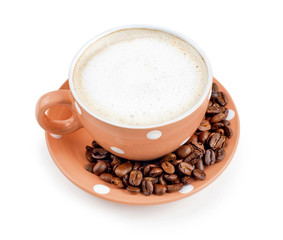 A cup of coffee on a white background. coffee beans