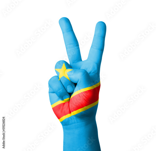 Hand making the V sign, Congo flag painted
