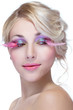 beauty woman with pink eyelashes