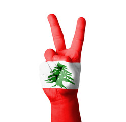 Hand making the V sign, Lebanon flag painted