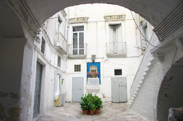 White Courtyard In Old Bari, Italy