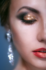 portrait of beauty young woman with shine makeup