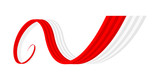 Abstract red white waving ribbon flag