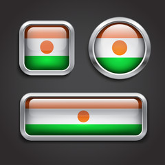 Niger flag glass buttons