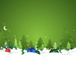 Christmas and New Year greeting background with snow tree
