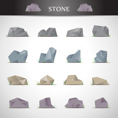 Stone Icons Set - Isolated On Gray Background - Vector