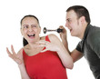 practical joke, surprised woman being shocked by man with horn