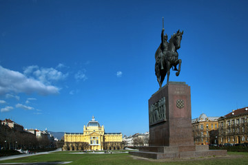 Zagreb capital of Croatia, statue of king Tomislav in front of t