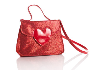 handbag with heart isolated with clipping path