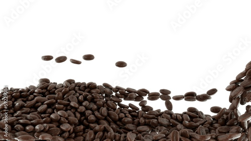 Roasted Coffee beans mixing with slow motion. Alpha