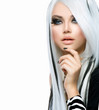 Beauty Fashion Girl black and white style. Long White Hair
