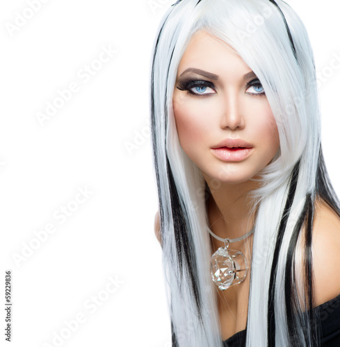 Beauty Fashion Girl Black And White Style Long White Hair De Subbotina Anna Photo Libre De